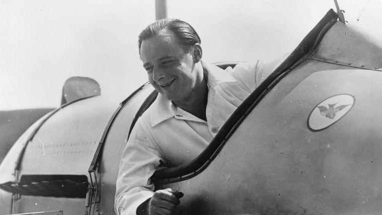 Donald Campbell sitting in the cockpit of 'Bluebird'