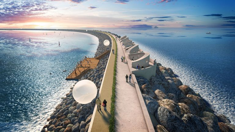 A visualisation of the wall at Swansea Bay