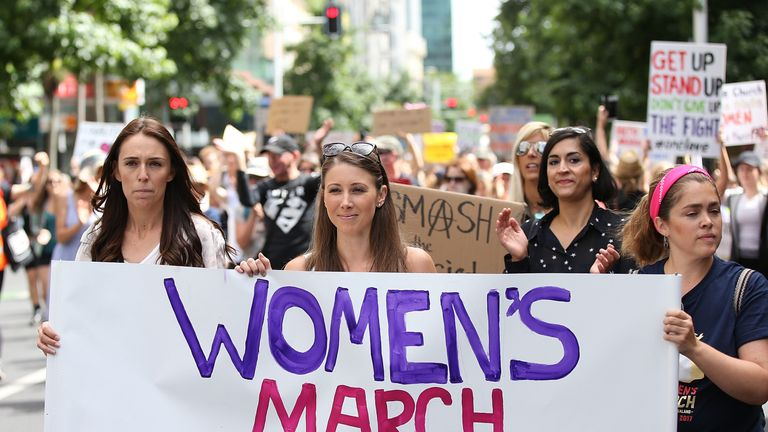 Women in New Zealand march against Trump