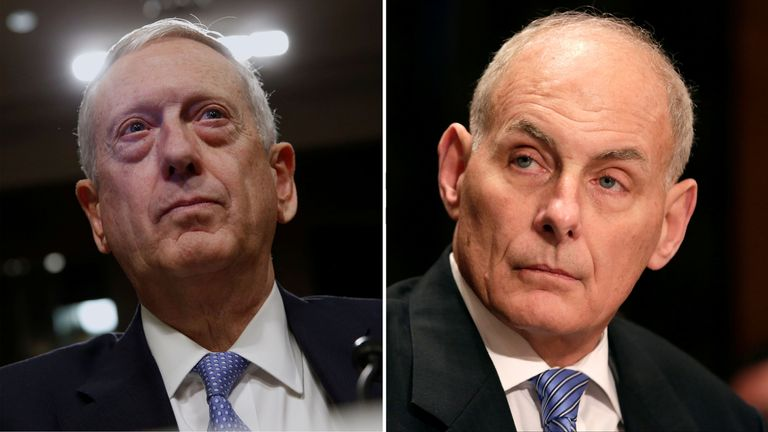 James Mattis (L) and John Kelly (R) are the first cabinet members to be confirmed
