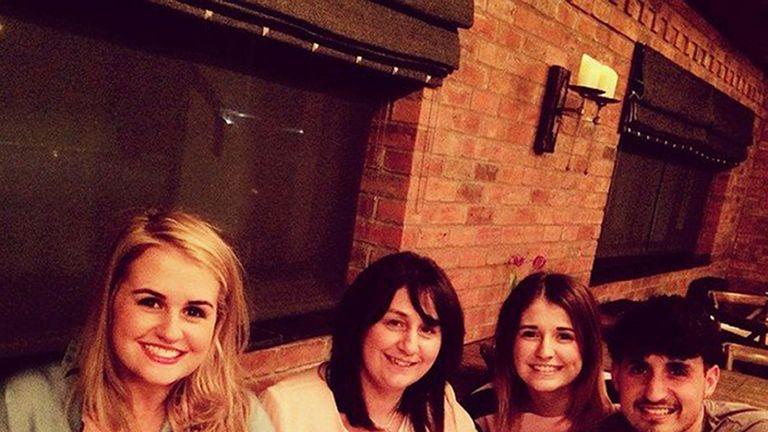 Attacj victim Sue Davey (second left) 43, from Staffordshire, with her children