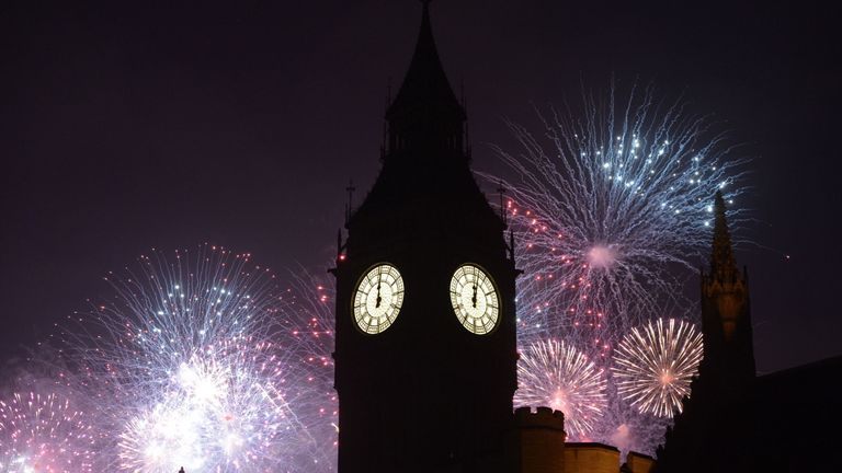 The display began as Big Ben chimed midnight