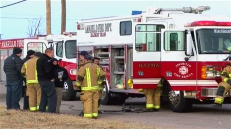 Police officers, firefighters and a paramedic were taken to hospital as a precaution