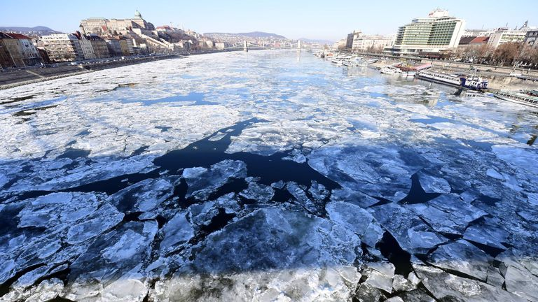 Ice floats on the Danube in Budapest