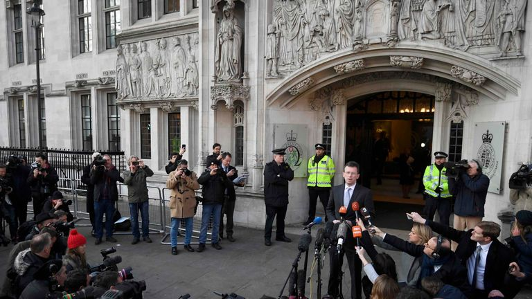 Britain's Attorney General, Jeremy Wright, speaks outside the Supreme Court