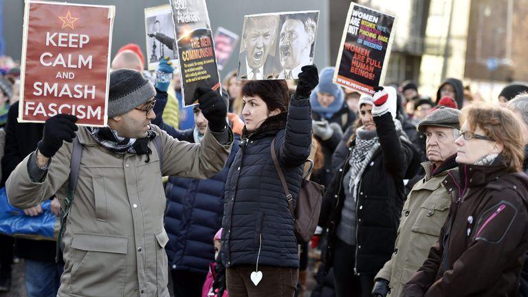 Women march against Donald Trump in Helsinki