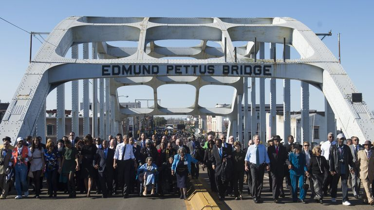 John Lewis joins the Obamas and former president George W Bush in Selma on the 50th anniversary of the civil rights march