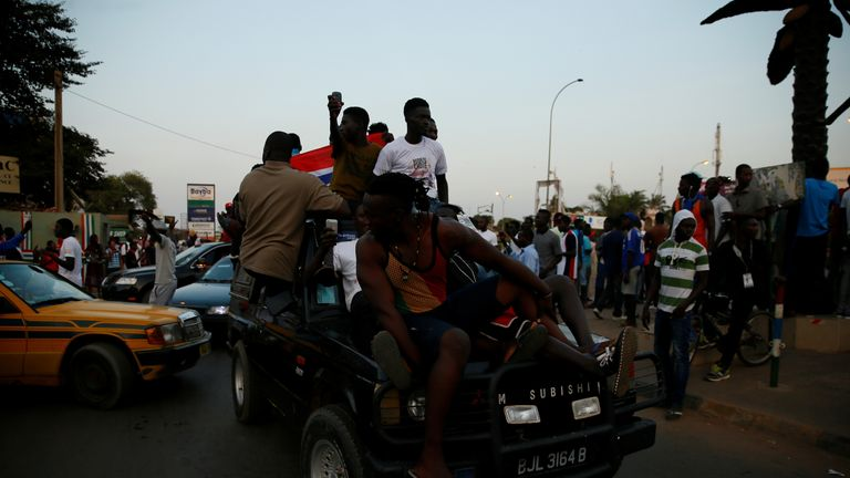 Gambians take to the streets to celebrate Mr Barrow's inauguration