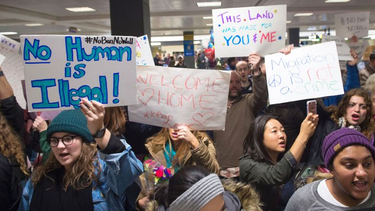 Protesters at Dulles Airport in Washington