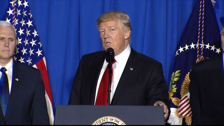 President Trump speaking in Washington at the Department of Homeland Security