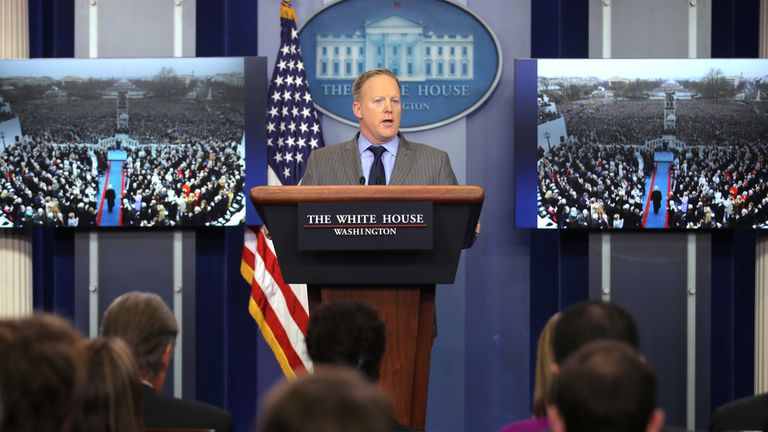 Pictures of crowds from another angle were shown as Sean Spicer criticised the media