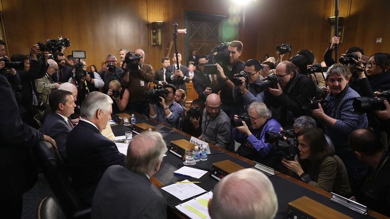 Rex Tillerson sits in on his confirmation hearing for Secretary of State in the Dirksen Senate Office Building on January 11, 2017