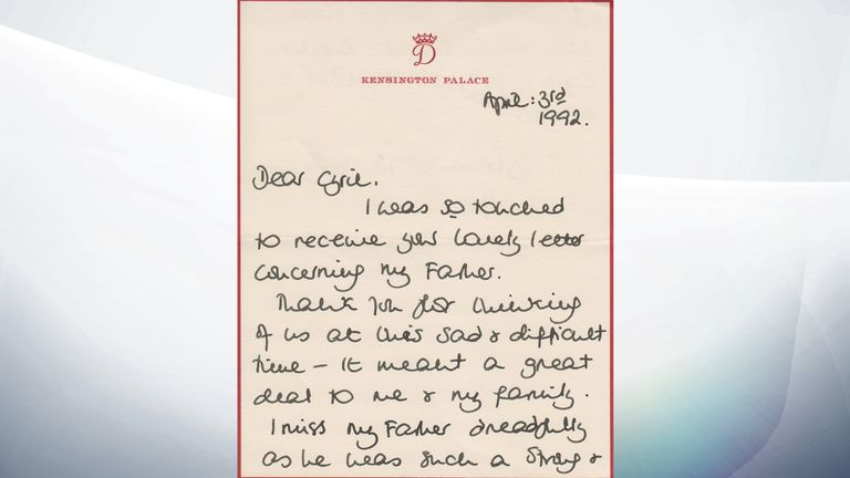 A letter sent by Princess Diana to Cyril Dickman in April 1992