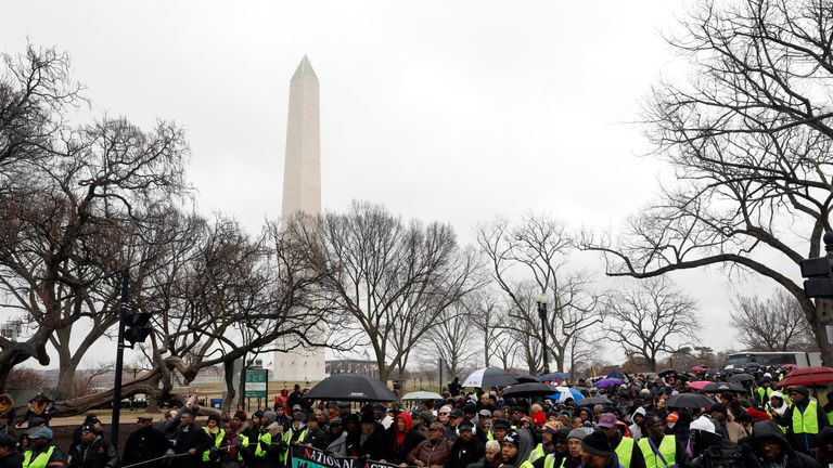 Protesters took to Washington's rain-soaked streets
