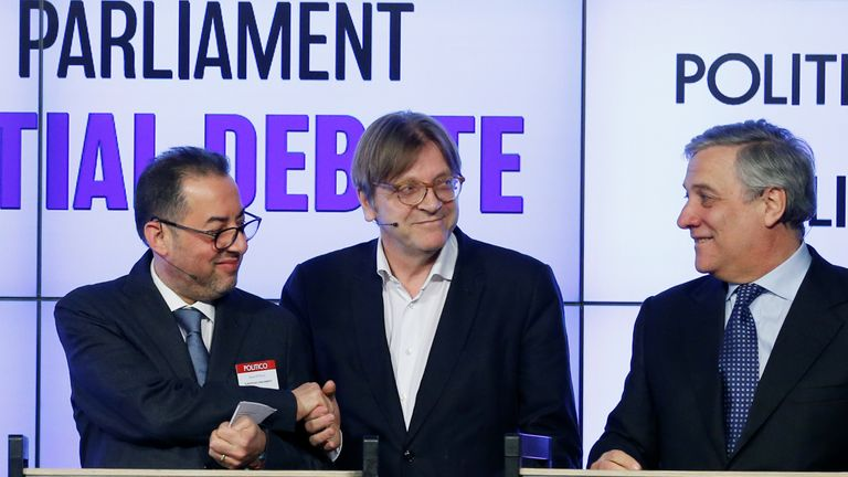 Gianni Pittella (L), Guy Verhofstadt (C) and Antonio Tajani at a recent presidential debate