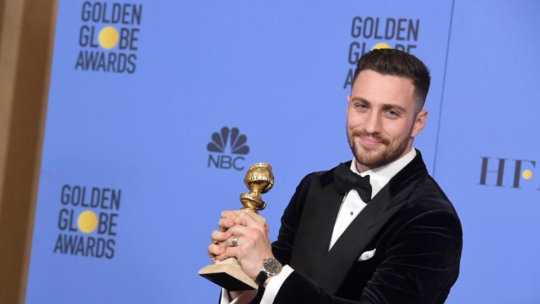 Actor Aaron Taylor-Johnson, winner of Best Supporting Actor in a Motion Picture for 'Nocturnal Animals,' poses in the press room during the 74th Annual Golden Globe Awards at The Beverly Hilton Hotel on January 8, 2017 in Beverly Hills, California