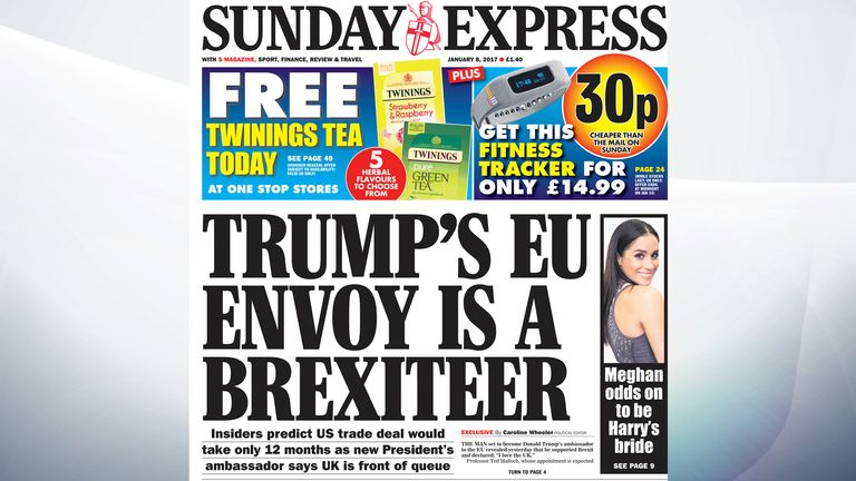 The Sunday Express says the man Donald Trump is expected to appoint as his ambassador to the EU has revealed he supported Brexit