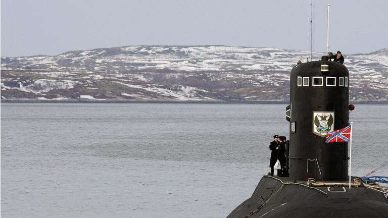 A Russian submarine patrols near Murmansk