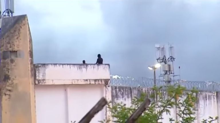 An image from footage by Globo News of a prison riot in Brazil