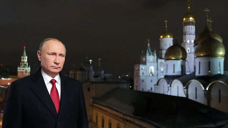 Vladimir Putin delivers his New Year message at the Kremlin in Moscow