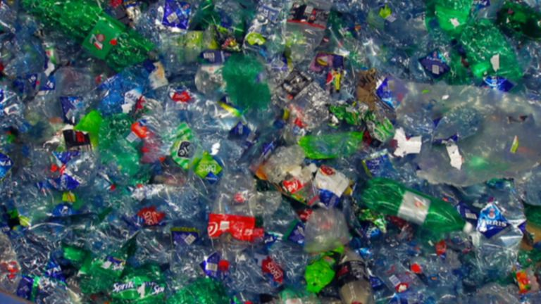 Plastic bottles at a recycling plant in Norway