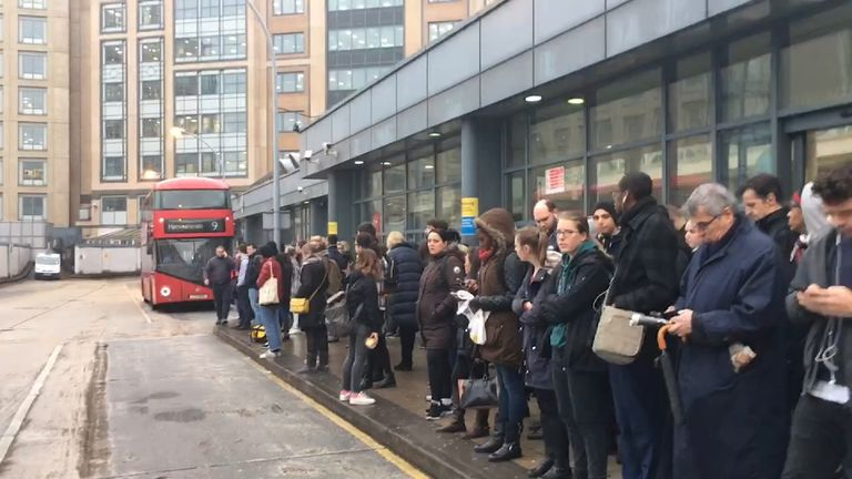 Queues for buses at Hammersmith