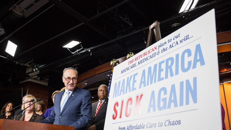 US Senate Minority Leader Chuck Schumer discussing Republican attempts to dismantle Obamacare