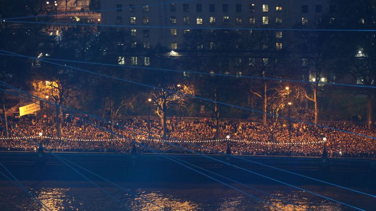 Crowds line the Victoria Embankment to watch the fireworks