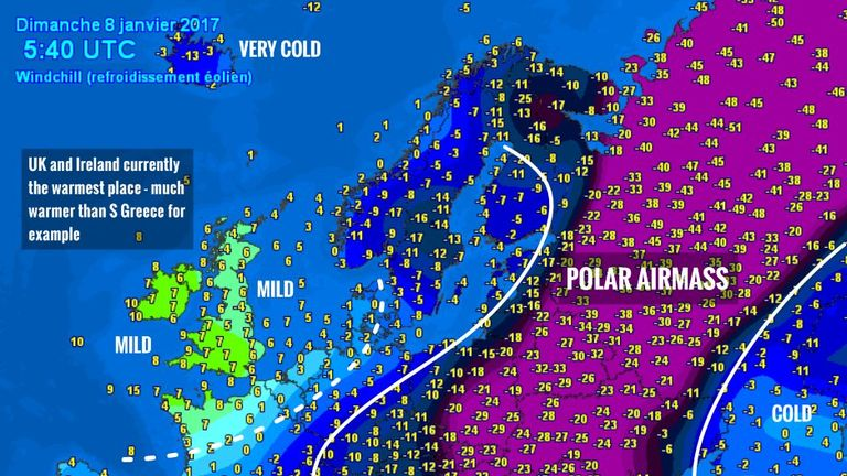 Severe Weather Europe's graphic shows the intense cold across the continent