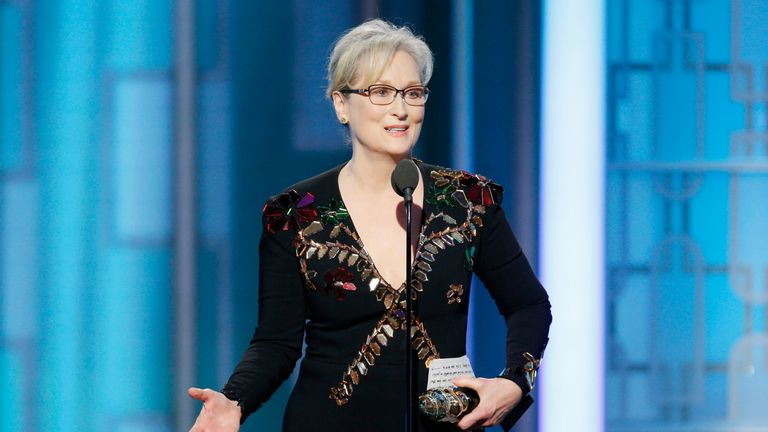 In this handout photo provided by NBCUniversal, Meryl Streep accepts Cecil B. DeMille Award during the 74th Annual Golden Globe Awards at The Beverly Hilton Hotel on January 8, 2017 in Beverly Hills, California