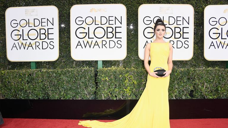 Actress Maisie Williams attends the 74th Annual Golden Globe Awards at The Beverly Hilton Hotel on January 8, 2017 in Beverly Hills, California.