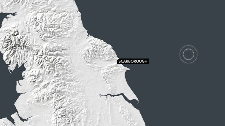The location of the earthquake off Scarborough