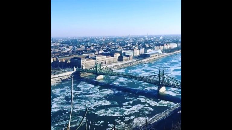 Ice Floes on the Danube. Pic: Credit: Instagram/damirio_kabario (Damir Kabaklic via Storyful)