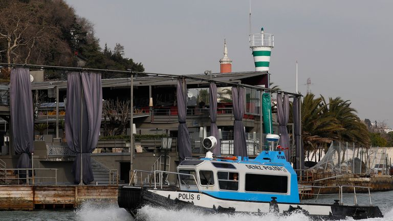 A Turkish coast guard boat patrols in front of the Reina nightclub by the Bosphorus