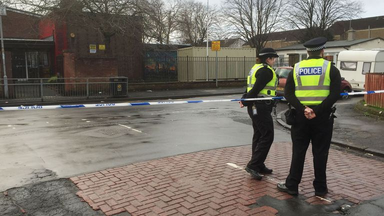 A police cordon near St George's Primary School following a shooting nearby