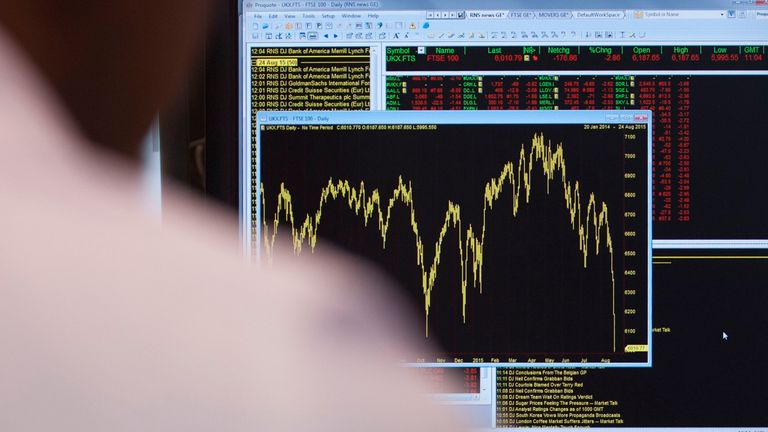 A worker views a graph showing the movement in the FTSE 100 Index. File pic