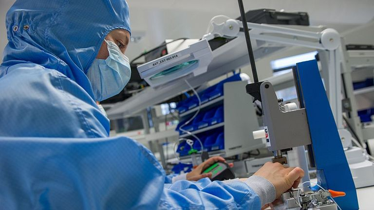 A scientist works with a disposable endoscope
