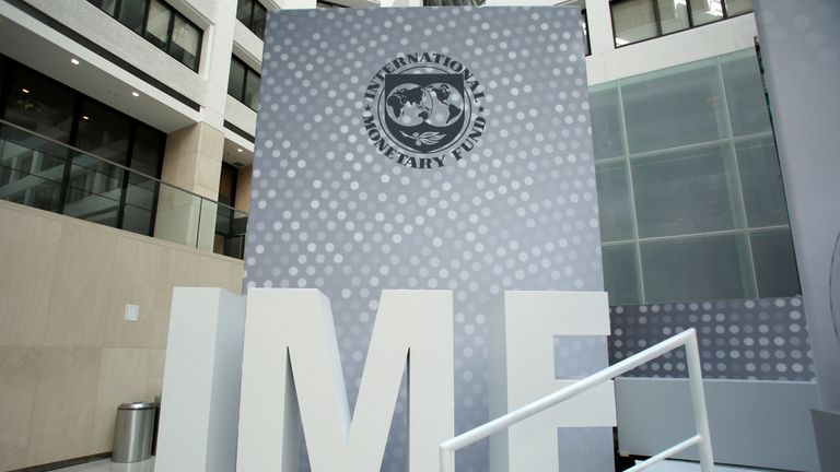 International Monetary Fund logo is seen inside the headquarters at the end of the IMF/World Bank annual meetings in Washington, U.S., October 9, 2016.