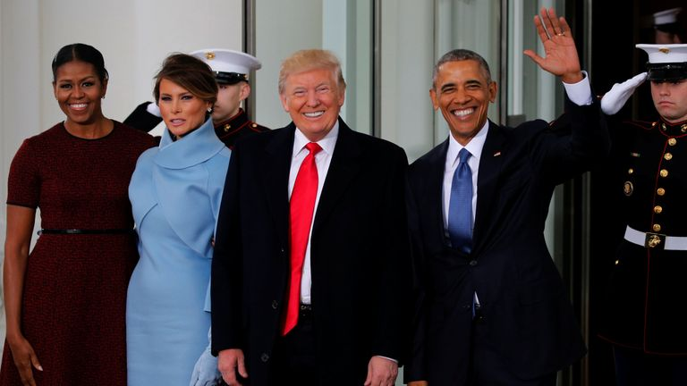U.S. President Barack Obama and first lady Michelle Obama greet Donald Trump and his wife Melania