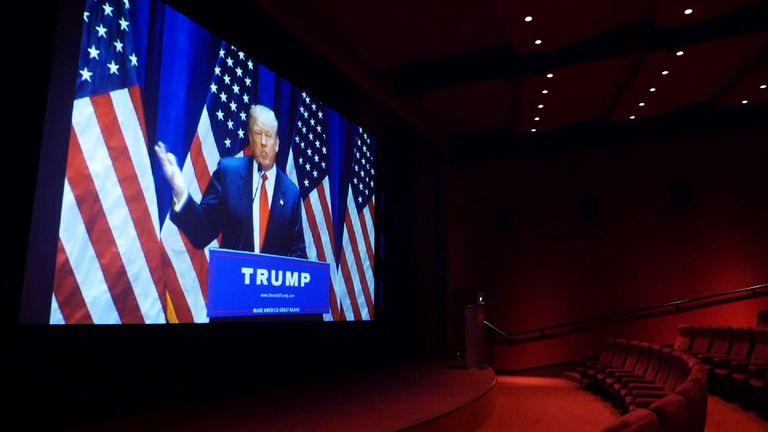 Donald Trump seen on cinema screen