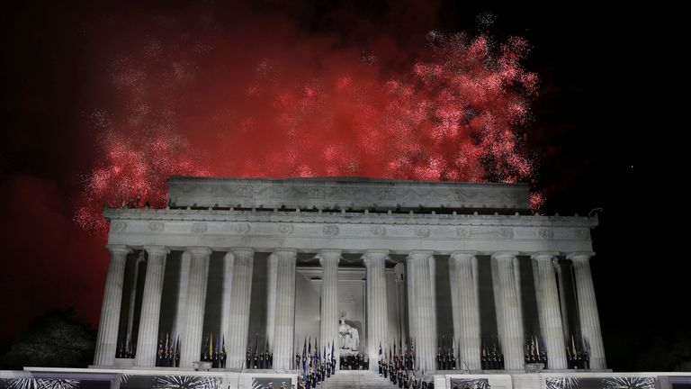 """Fireworks explode over the Lincoln Memorial after the """"Make America Great Again! Welcome Celebration"""""""