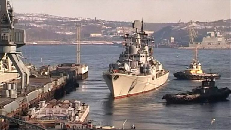 Russian ships depart for drills in Barents Sea