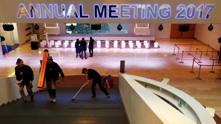 The venue in Davos is prepared for world leaders