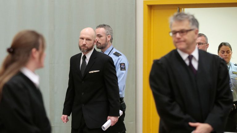 Anders Behring Breivik arrives for the appeal hearing in Borgarting Court of Appeal at Telemark prison in Skien, Norway