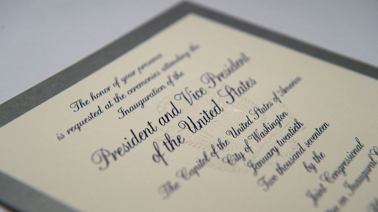 An invitation to the 58th Presidential inauguration for Donald Trump