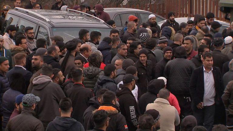 Mourners outside Masjid Bilal in Huddersfield