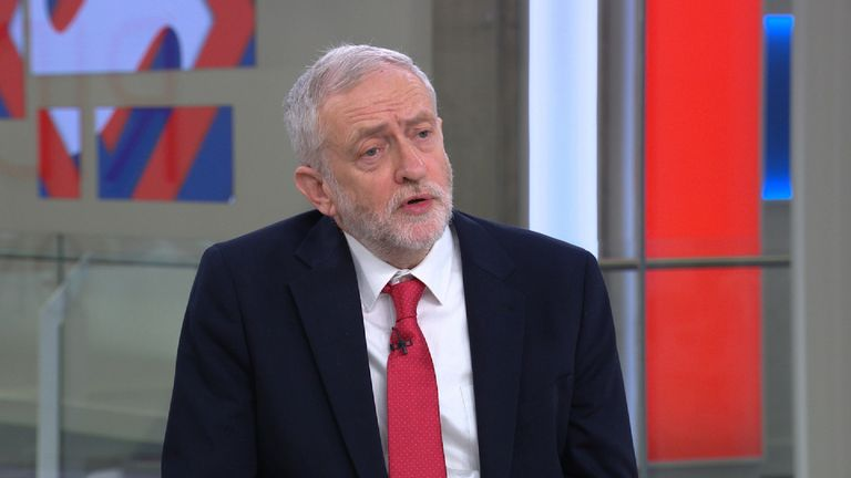 Labour leader Jeremy Corbyn speaking on Sophy Ridge on Sunday