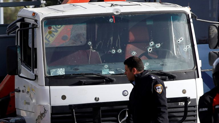 Bullet holes left on the lorry after soldiers shot at the vehicle