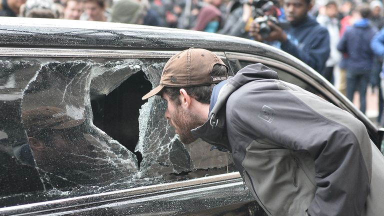 Car windows were smashed by protesters