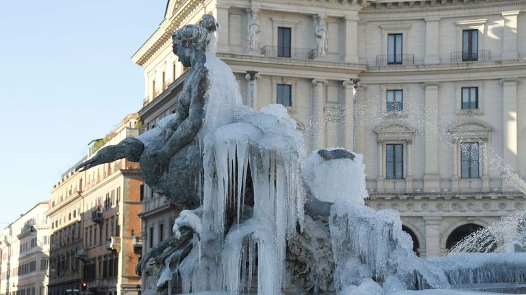 Deaths have been reported in Italy as temperarures plummet